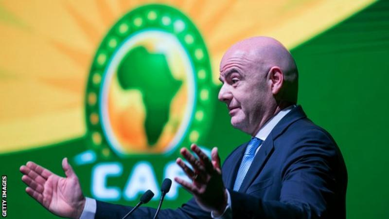 FIFA President Infantino arrives in Cameroon for CHAN opener